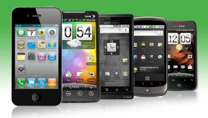 A selection of smartphones